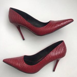 Roberto Vianni Red Snake Print Leather Pumps sz 8